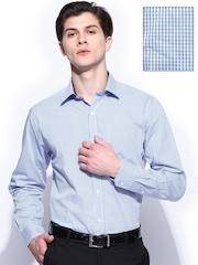 John Miller Men Blue & White Gingham Checked Tailored Fit Formal Shirt