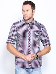 Pepe Jeans Men Blue & Red Semi Fit Checked Casual Shirt