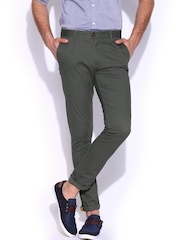Mast & Harbour Men Grey Chino Trousers