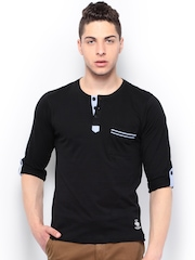 Roadster Men Black Henley T-shirt