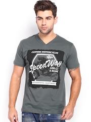 Roadster Men Grey Printed T-shirt