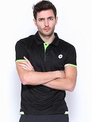 Lotto Men Black Polo T-shirt