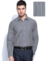 Arrow Men Black & White Striped Slim Fit Formal Shirt
