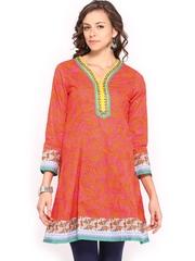Rangriti Women Pink & Orange Printed Anarkali Kurta