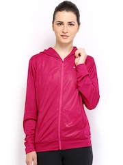 Puma Women Magenta Gym Loose Cover Up Hooded Jacket