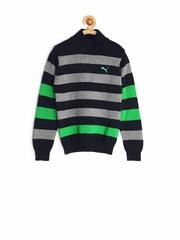 PUMA Boys Grey & Black Striped Sweater