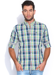 Flying Machine Men Navy & Green Checked Casual Shirt