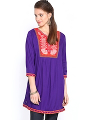 Rain & Rainbow Women Purple Embroidered Kurti