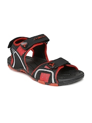 Spinn Men Black & Dark Red Forest Trail Sports Sandals