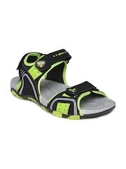 Spinn Men Black & Lime Green Forest Trail Sports Sandals