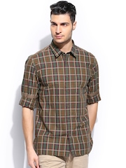 Indian Terrain Men Green & Red Checked Slim Fit Casual Shirt