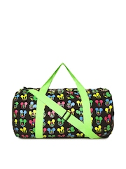 Kook N Keech Disney Women Black & Neon Green Printed Duffle Bag