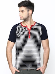 Men Navy Striped Henley T-shirt Status Quo