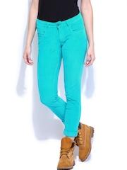 Flying Machine Women Blue Twiggy Super Skinny Fit Corduroy Trousers