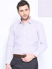 John Miller Men White & Blue Checked Slim Fit Formal Shirt