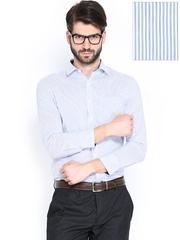 John Miller Men White & Blue Striped Slim Fit Formal Shirt