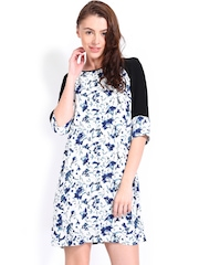 French Connection White Floral Printed Shift Dress