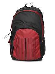 Red Chilli Unisex Black & Red Barcode Backpack