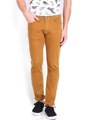 Locomotive Men Mustard Brown Super Slim Fit Jeans