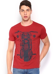 Roadster Men Red Bike Printed T-shirt