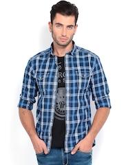 Celio Men Blue & White Slim Fit Checked Casual Shirt