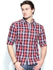 Celio Men Orange & Navy Checked Slim Fit Casual Shirt