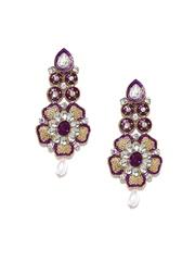 Anouk Purple & Gold-Toned Drop Earrings