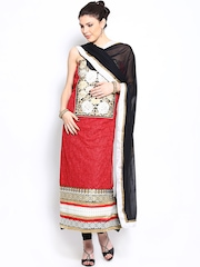Ambica Red & Black Embroidered Semi-Stitched Dress Material