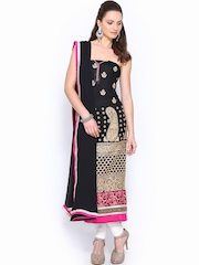 Ambica Black Embroidered Semi-Stitched Dress Material