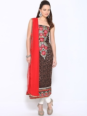 Ambica Brown & Red Embroidered Semi-Stitched Dress Material