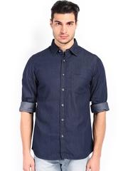 Wrangler Men Blue Denim Casual Shirt