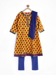 BIBA Girls Yellow & Blue Printed Churidar Kurta with Dupatta