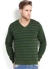 People Men Green & Navy Striped Sweater