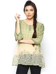People Women Green Printed Sheer Kurti