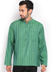 Fabindia Men Green Striped Tussar Silk Short Kurta