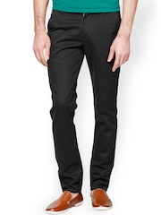 Haute Couture Men Black Tailored Fit Chino Trousers