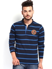 Men Blue Striped Henley T-shirt Roadster 482344