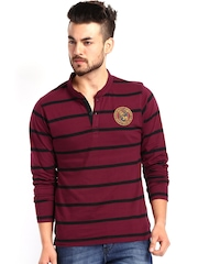 Men Maroon  & Black Striped Henley T-shirt Roadster