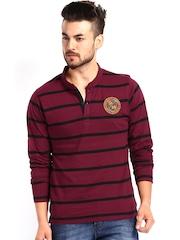 Roadster Men Maroon  & Black Striped Henley T-shirt