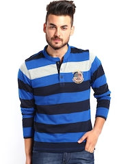 Men Blue Striped Henley T-shirt Roadster
