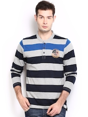 Men Grey Melange & Navy Striped Henley T-shirt Roadster