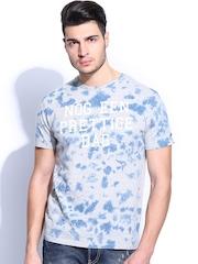 Breakbounce Men Grey Melange & Blue Printed Bear Hug Slim Fit T-shirt