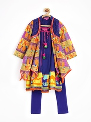 BIBA Girls Multicoloured Anarkali Churidar Kurta with Jacket