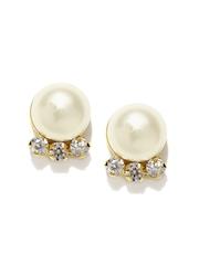 Ahaana Gold-Plated & White Pearl Stud Earrings