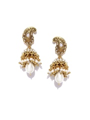 Fida Gold-Toned & White Jhumka Earrings