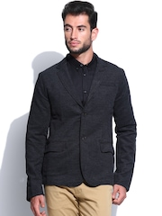 The Indian Garage Co. Men Charcoal Grey Blazer