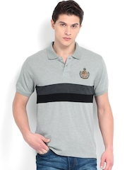 Roadster Men Grey Melange Pique Polo T-shirt