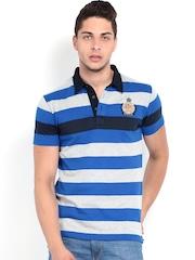Roadster Men Blue & Black Striped Polo T-shirt