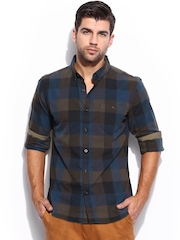 Mast & Harbour Men Olive Green & Blue Checked Slim Fit Casual Shirt