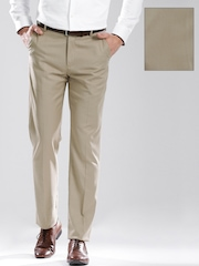 INVICTUS Men Beige Tailored Fit Formal Trousers
